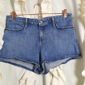 Theory bead embellished jean shorts